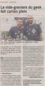 Article de presse Holdies vide-grenier geek Cuisery