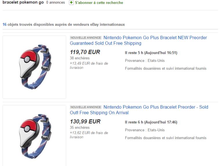 Bracelet Pokemon GO Plus Ebay précommande preorder